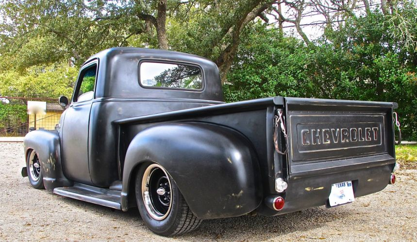 1954 Chevrolet Chevy 3100 Pickup Lowered Low Old School Custom Kustom Black Primer USA-3082x1716-03 wallpaper