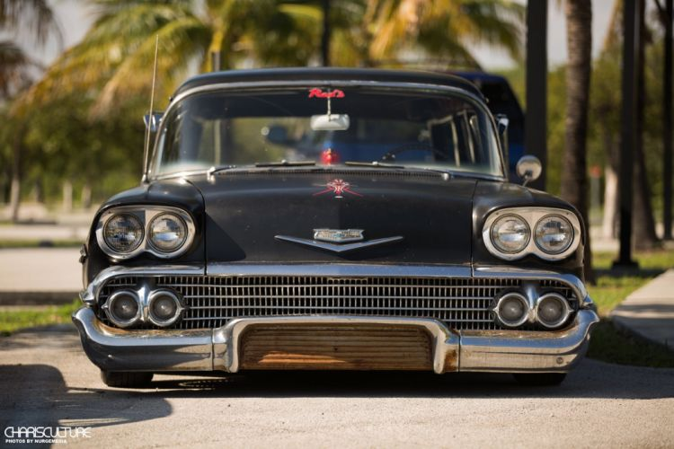 1958 Chevrolet Chevy Nomad Wagaon Lowrider Low Black Primer USA 1920x1280-01 wallpaper