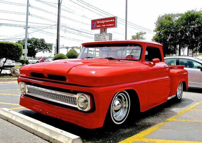 1966 Chevrolet Chevy Pickup Rod Custom Chopped Top Red USA 2640x1898-02 wallpaper