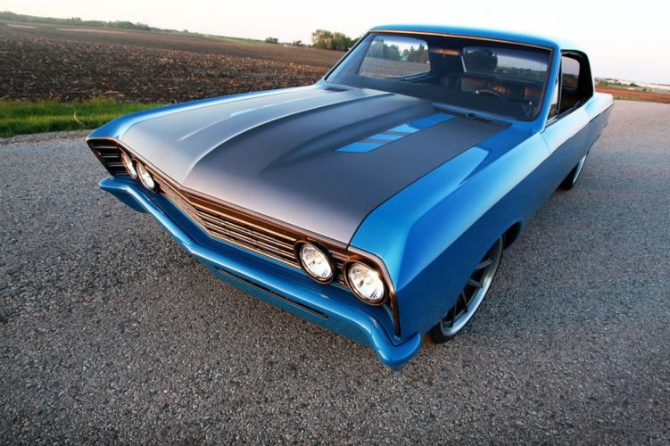 1967 Chevrolet Chevy Chevelle Super Street Pro Touring Blue USA 1600x1066 wallpaper