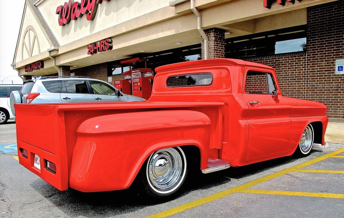1966 Chevrolet Chevy Pickup Rod Custom Chopped Top Red USA 2640x1676-03 wallpaper