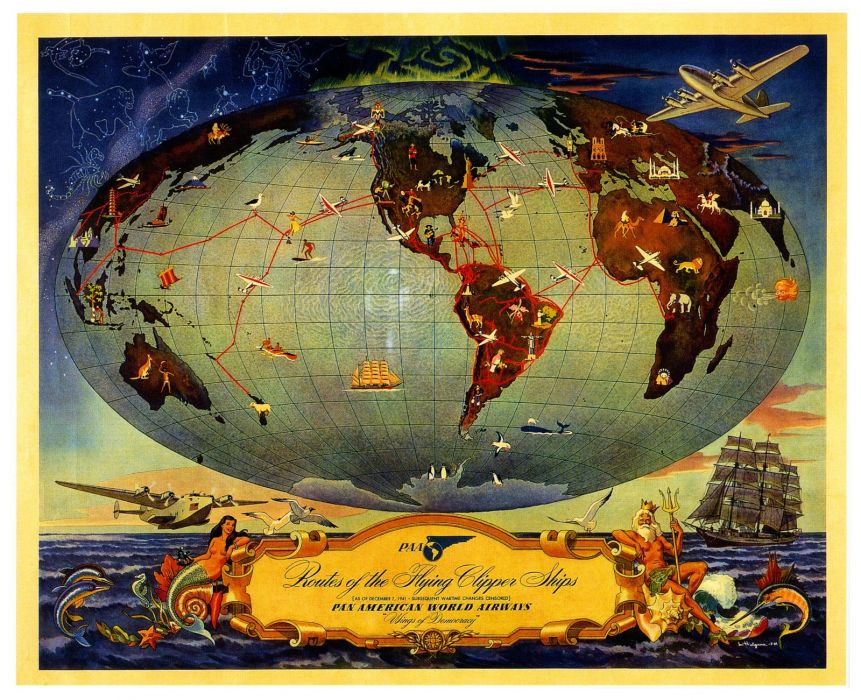 Map World Routes Flying Clipper Ships Pan American Airways 1600x1300 wallpaper