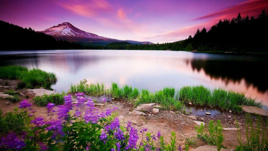 mountain lake landsacape sunset wallpaper