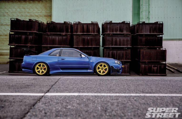 999 nissan skyline gtr blue modified cars wallpaper