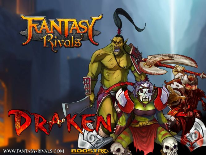 FANTASY RIVALS online fantasy trading card mmo tcg 1frivals strategy action fighting warrior poster wallpaper