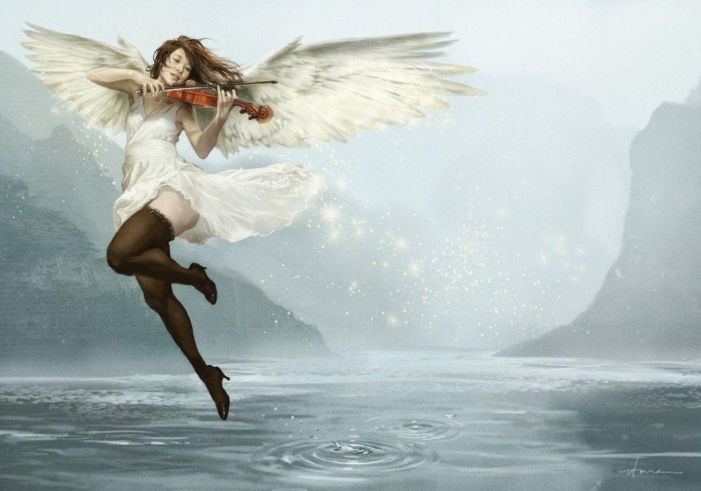 angel violin music girl wings dress beautiful water wallpaper
