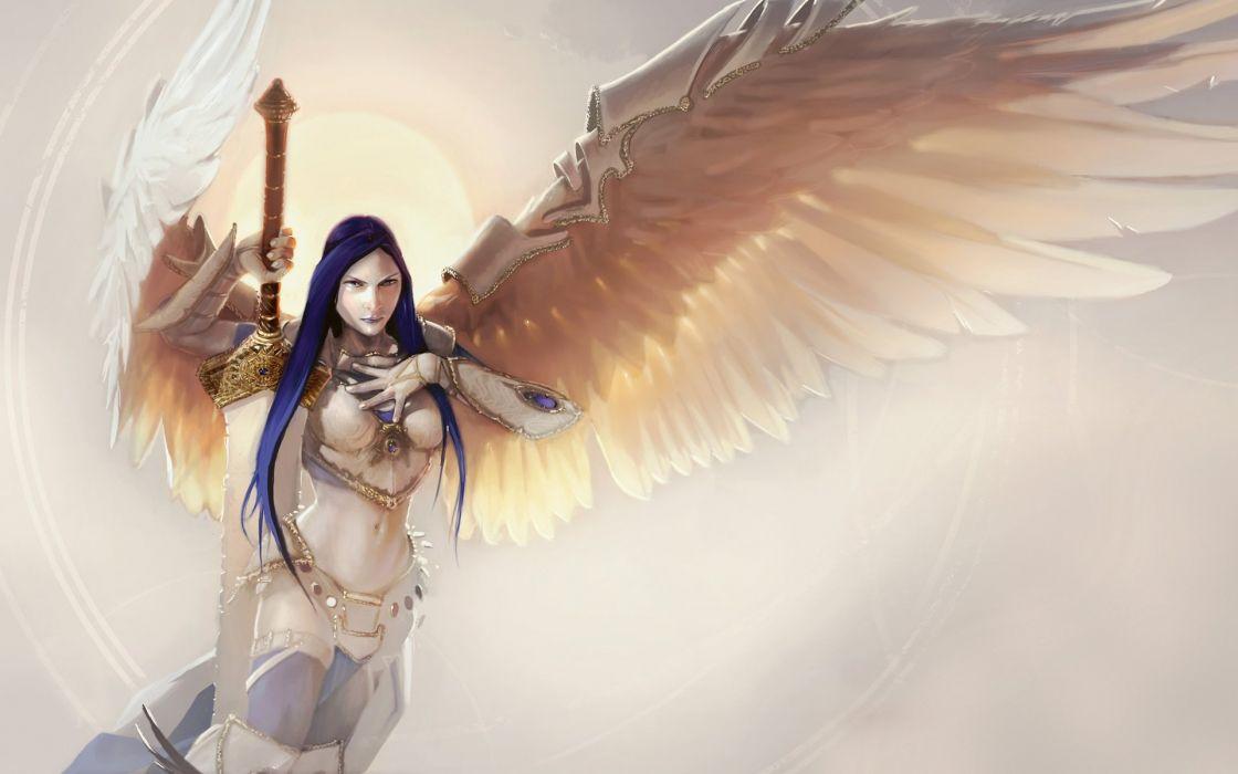 angel wings fantasy girl beautiful wallpaper