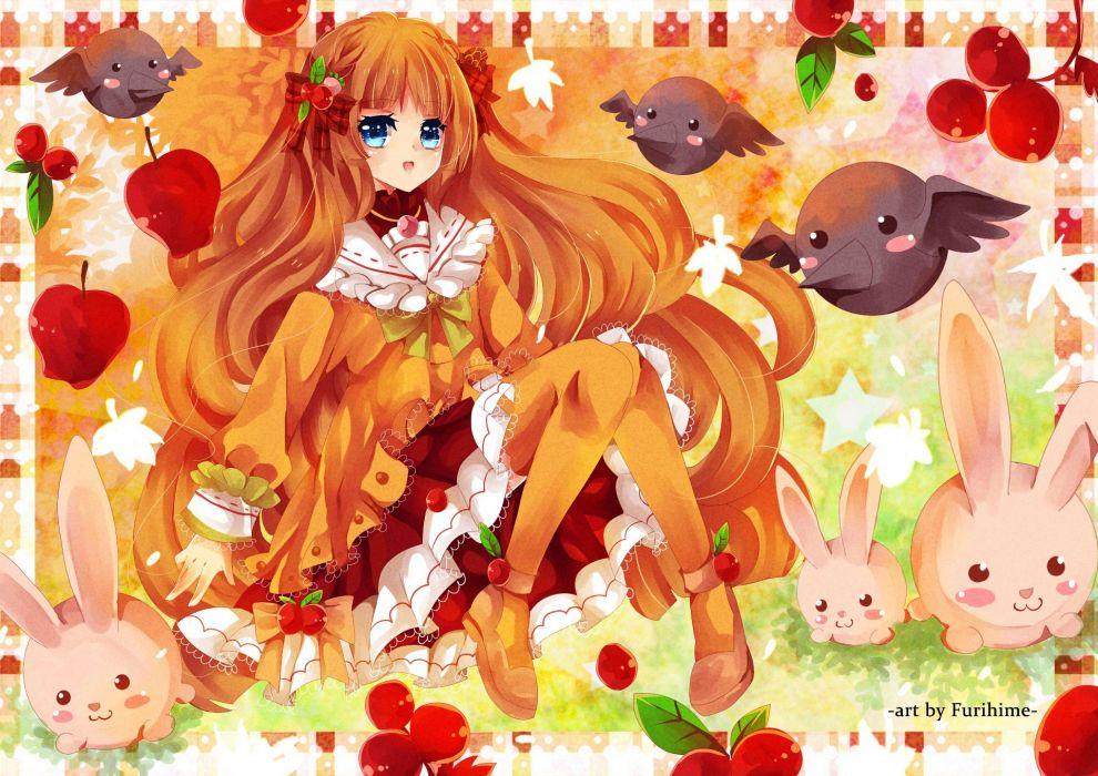 anime girl fruits cute rabbit wallpaper