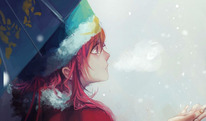 anime girl winter color red hair wallpaper