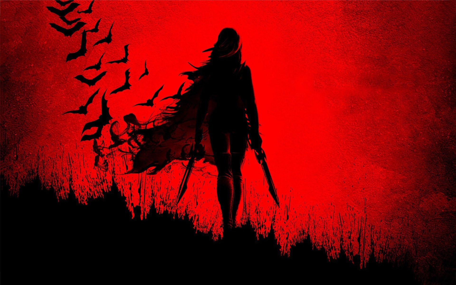 Blade Girl Shadow Wide Red Sword Anime Wallpaper X  Wallpaperup