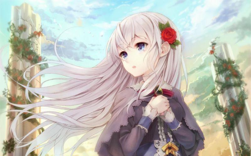 anime girl long hair rose beautiful wallpaper