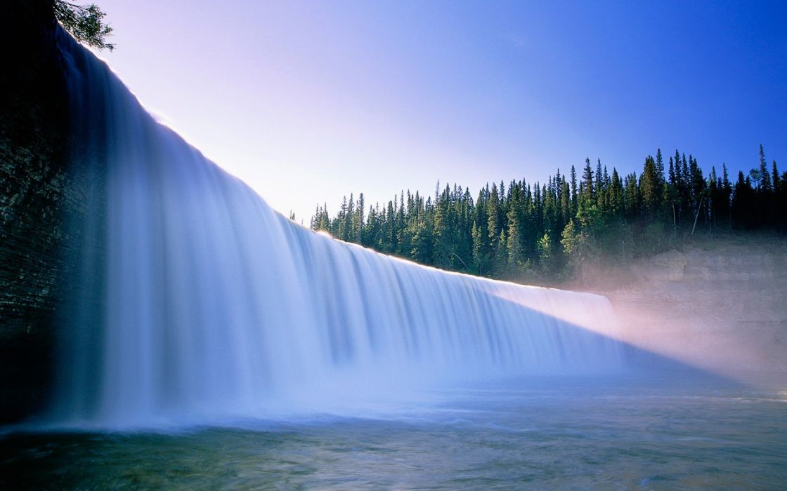 waterfall trees forest sky nature wallpaper