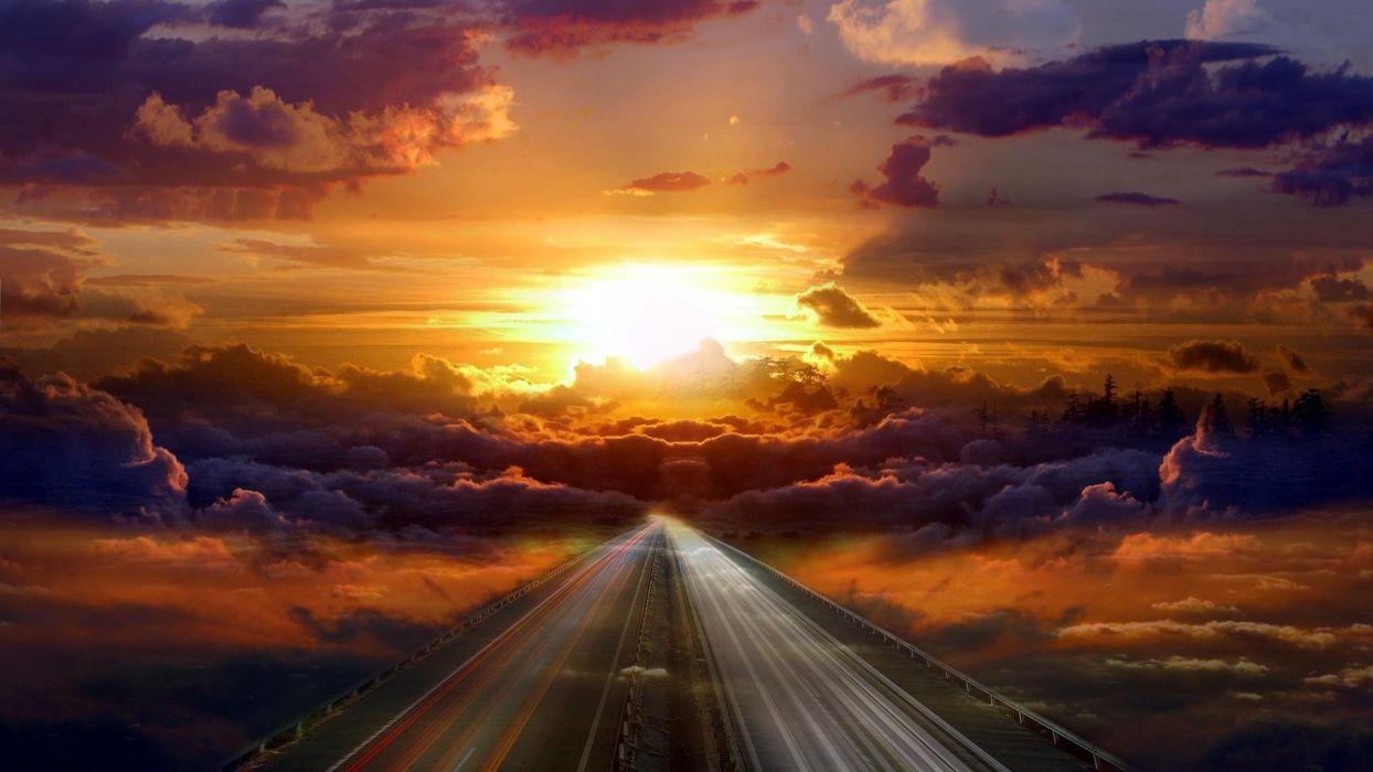 Beauty Amazing Beautiful Sun Clouds Sky Way Wallpaper