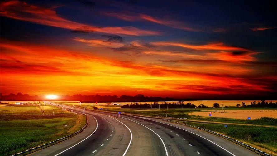 way sunset sky beautiful cloud wallpaper
