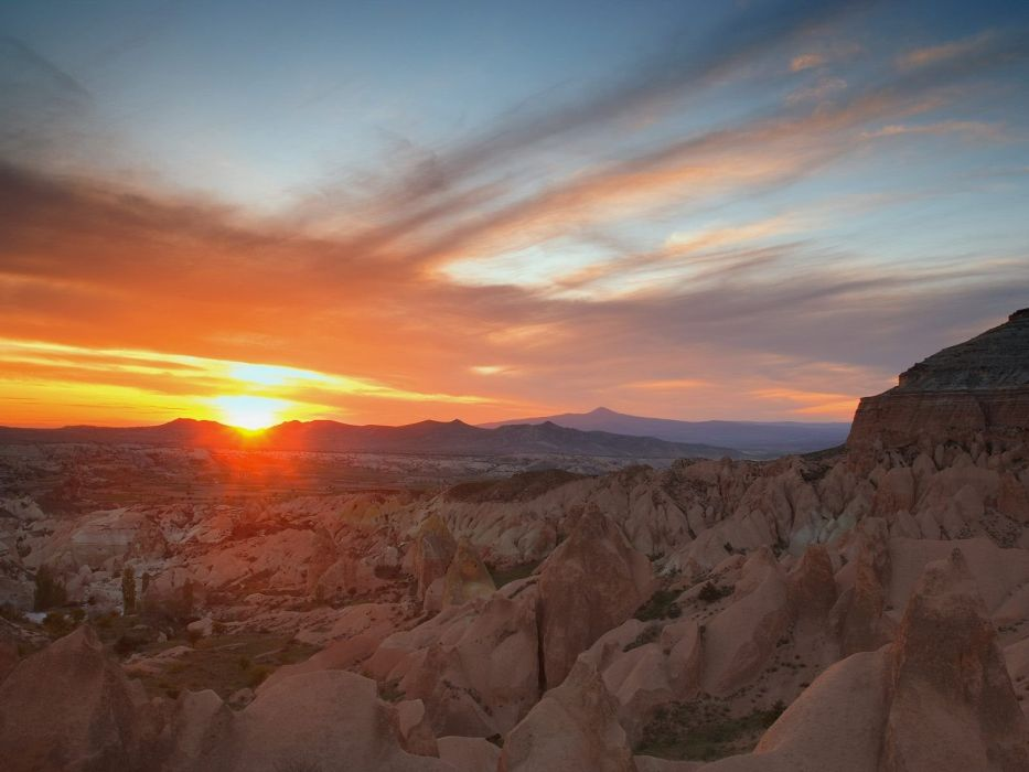 Sunset Badlands National Park South Dakota wallpaper