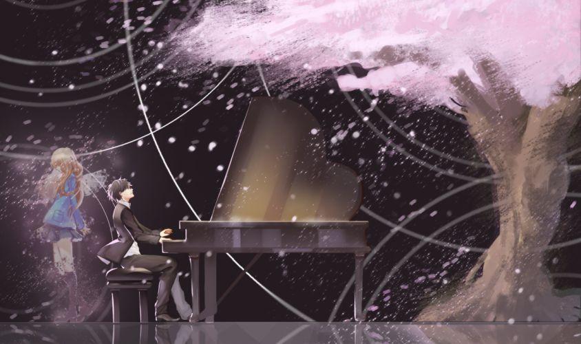 anime series girl boy piano music tree wallpaper