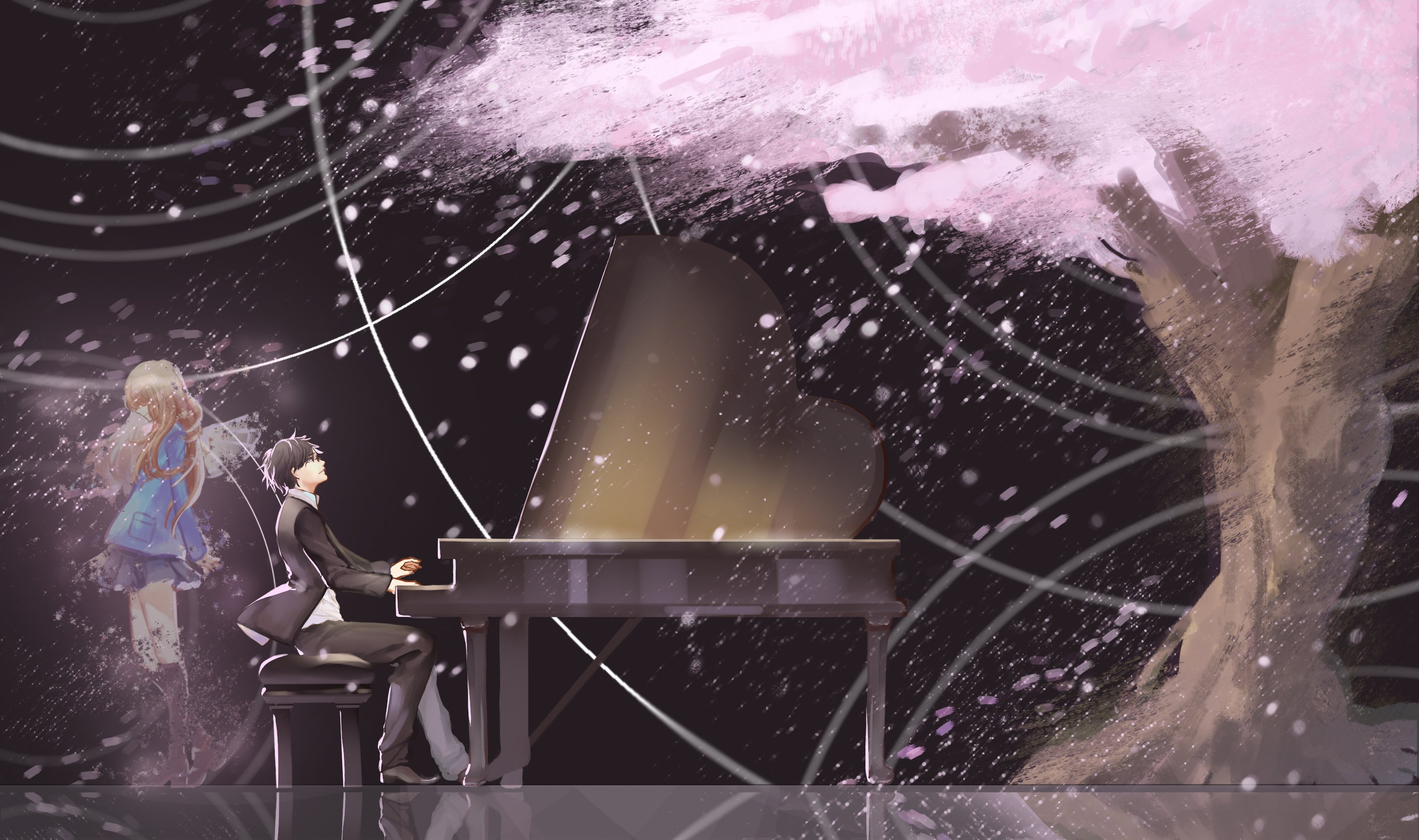 Your Lie In April Wallpaper Hd: Anime Series Girl Boy Piano Music Tree Wallpaper