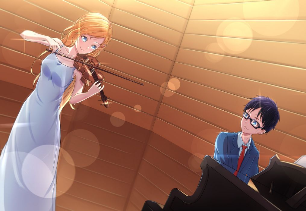Anime Series Girl Boy Piano Music Violin Wallpaper 2000x1379 683589 Wallpaperup