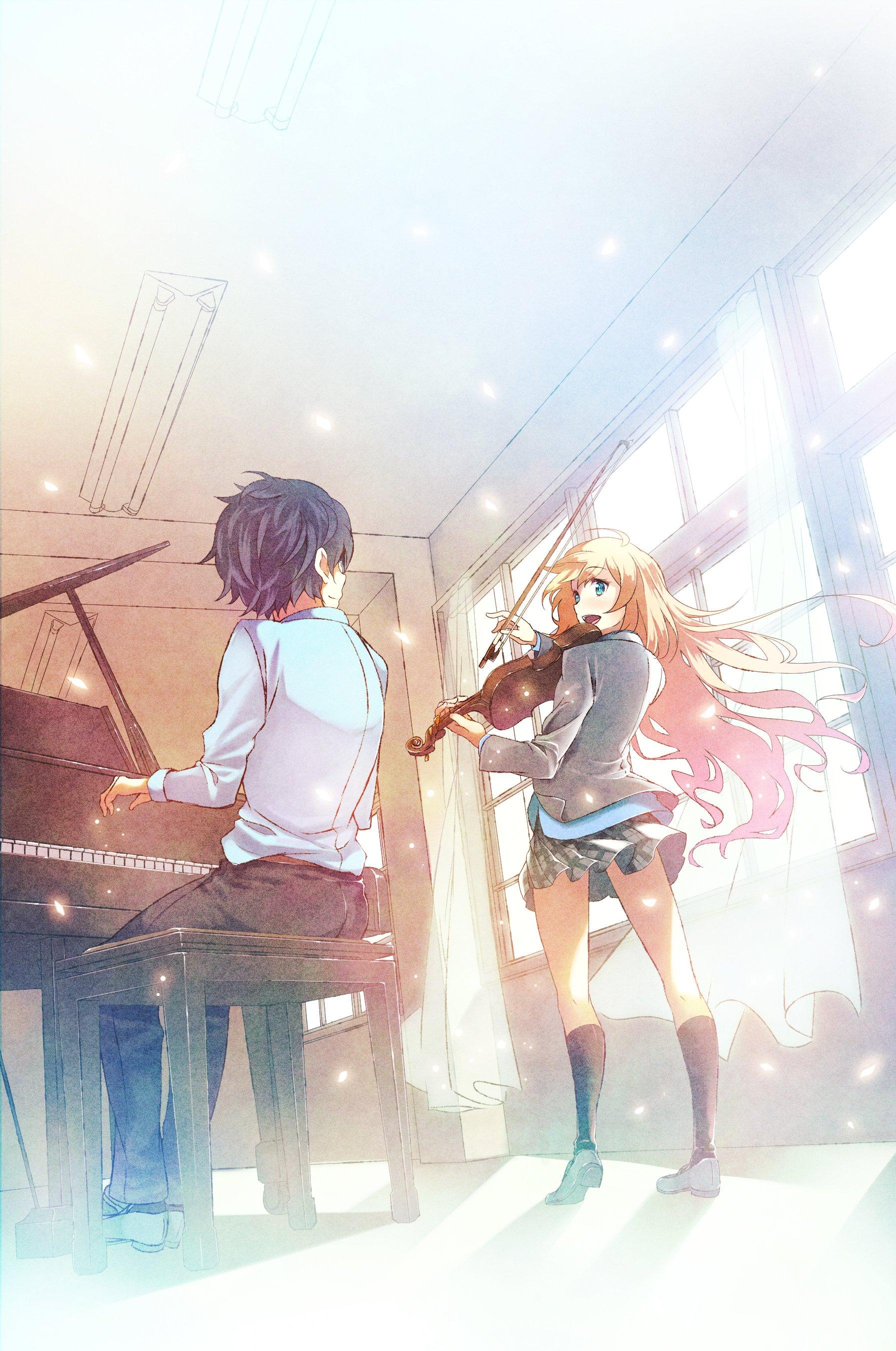 Anime Series Girl Boy Piano Music Violin Wallpaper 1793x2703 683591 Wallpaperup