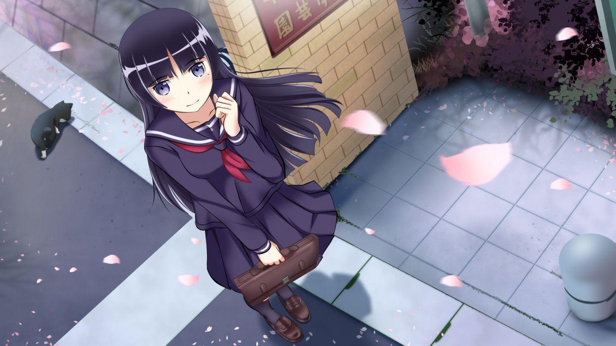 anime girl school uniform long hair petals wallpaper