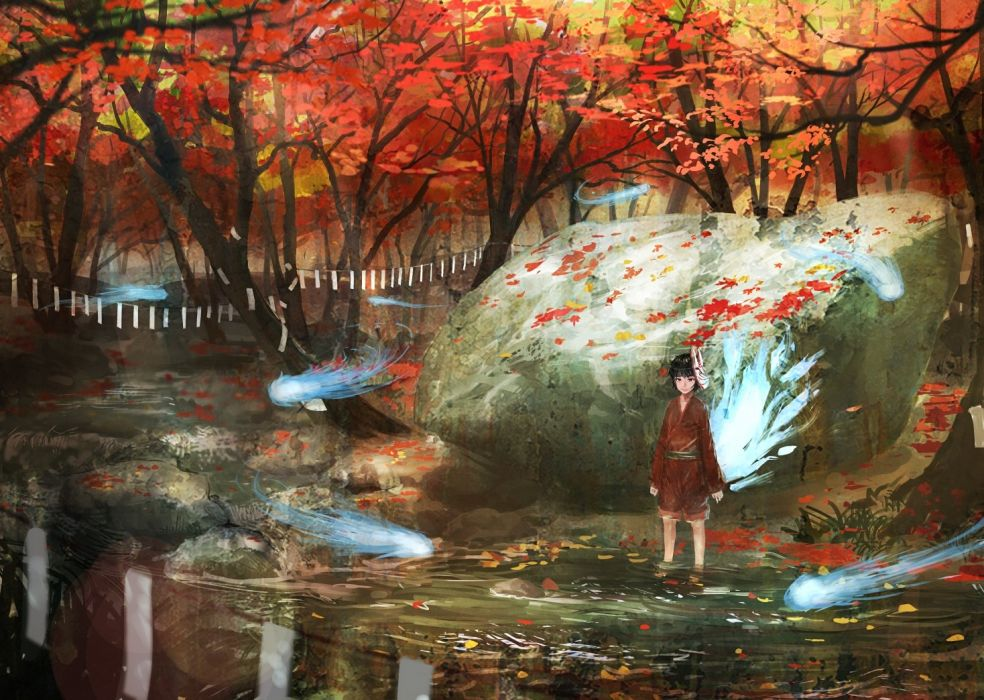 anime tree autumn river Ghost wallpaper