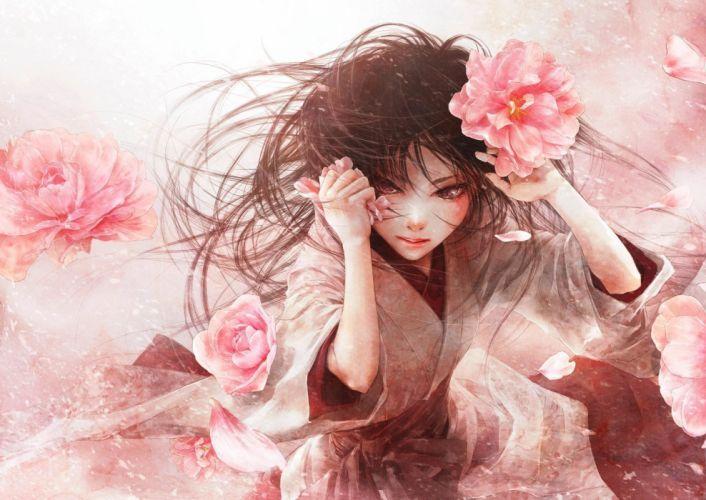 anime girl flower pink kimono wallpaper
