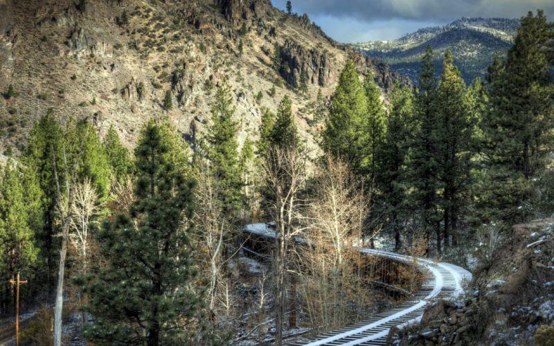 Nature Sky Tree Mountain Railway wallpaper
