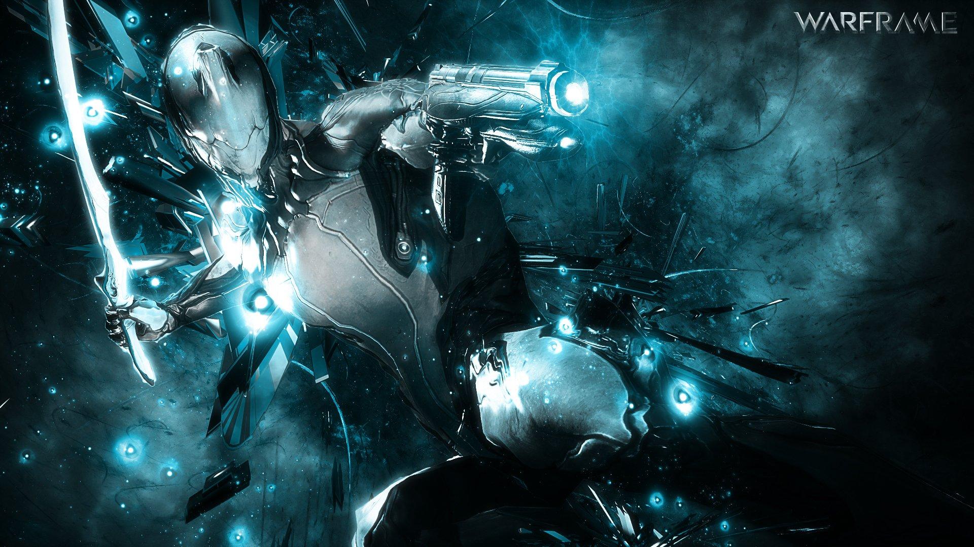 warframe warrior shooter sci fi robot wallpaper