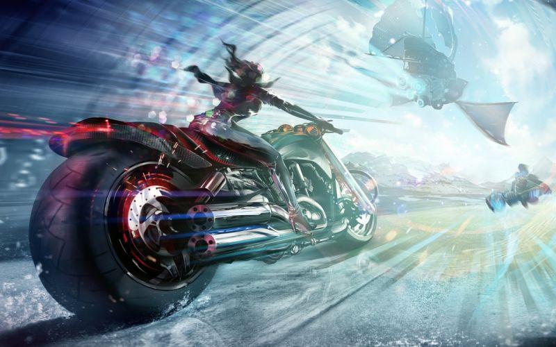 sci-fi art artwork motorbike chopper girl motorcycle bike spaceship wallpaper