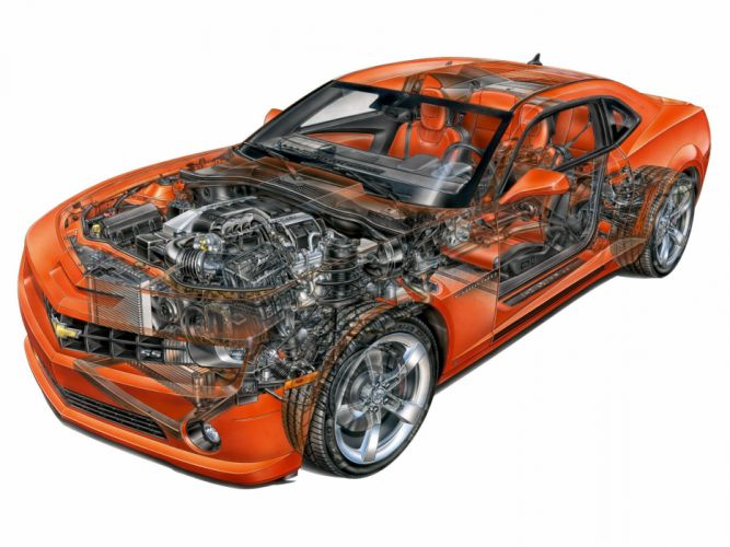 chevrolet chevy camaro ss 2009 coupe cars technical cutaway wallpaper