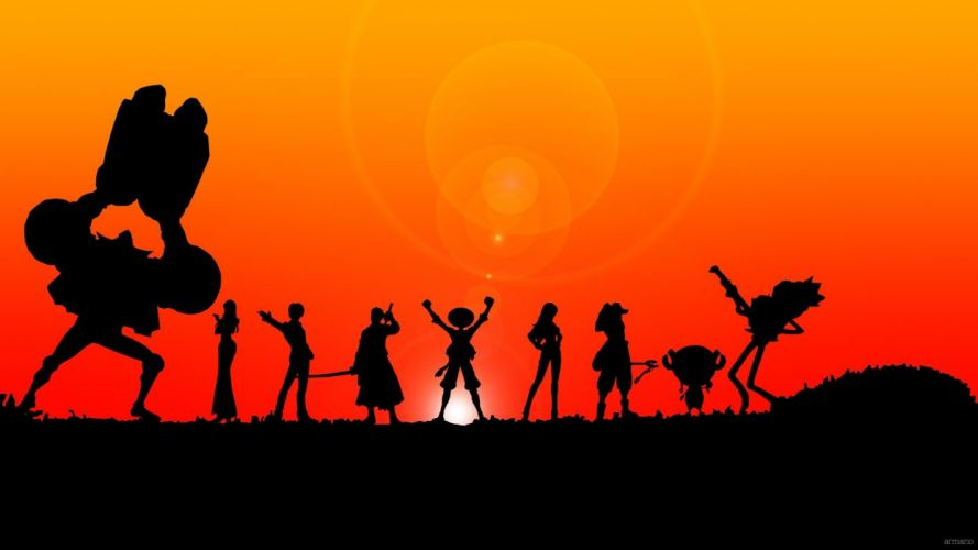 One Piece series anime characters sunset wallpaper