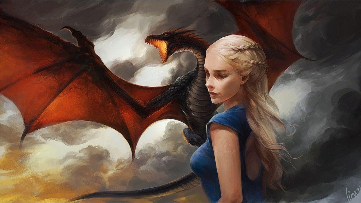 dragon fantasy girl blonde wallpaper
