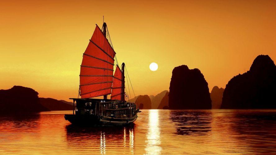reed-boat-sun-boats-landscapes-nature wallpaper