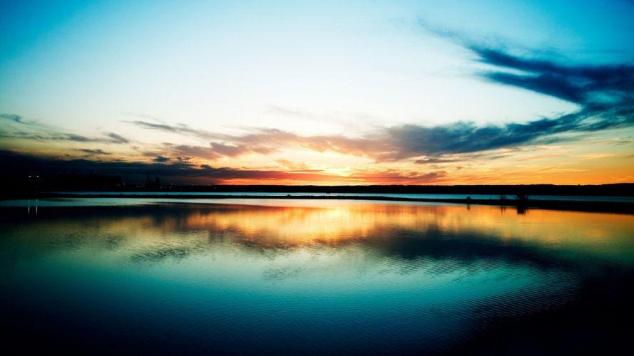 sunset-clouds-reflection- wallpaper