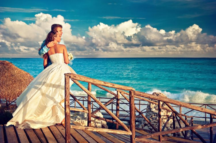 wedding sea couple happy love dress wallpaper