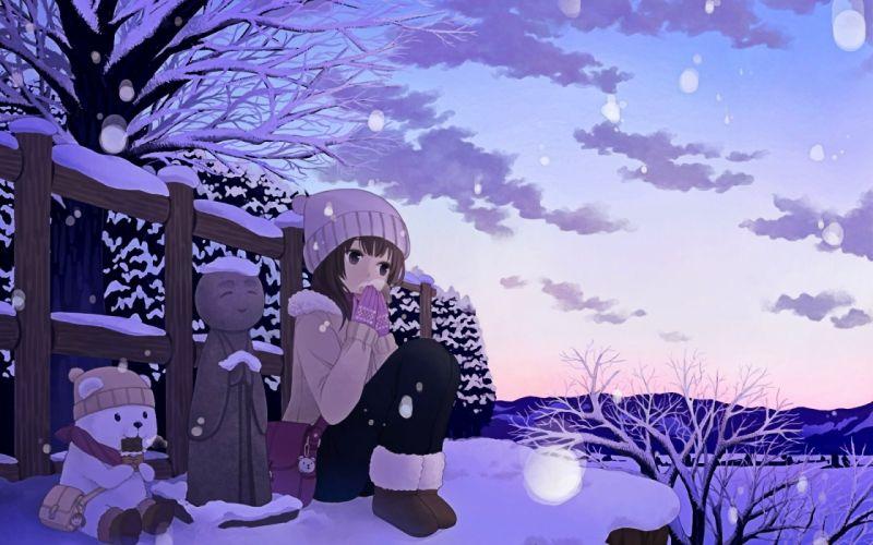 anime girl winter snow wallpaper