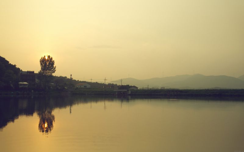 lake-nice-sea-ocean-nature-sunset-yellow- wallpaper