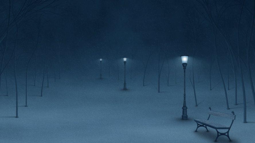 winter-night-in-the-park- wallpaper