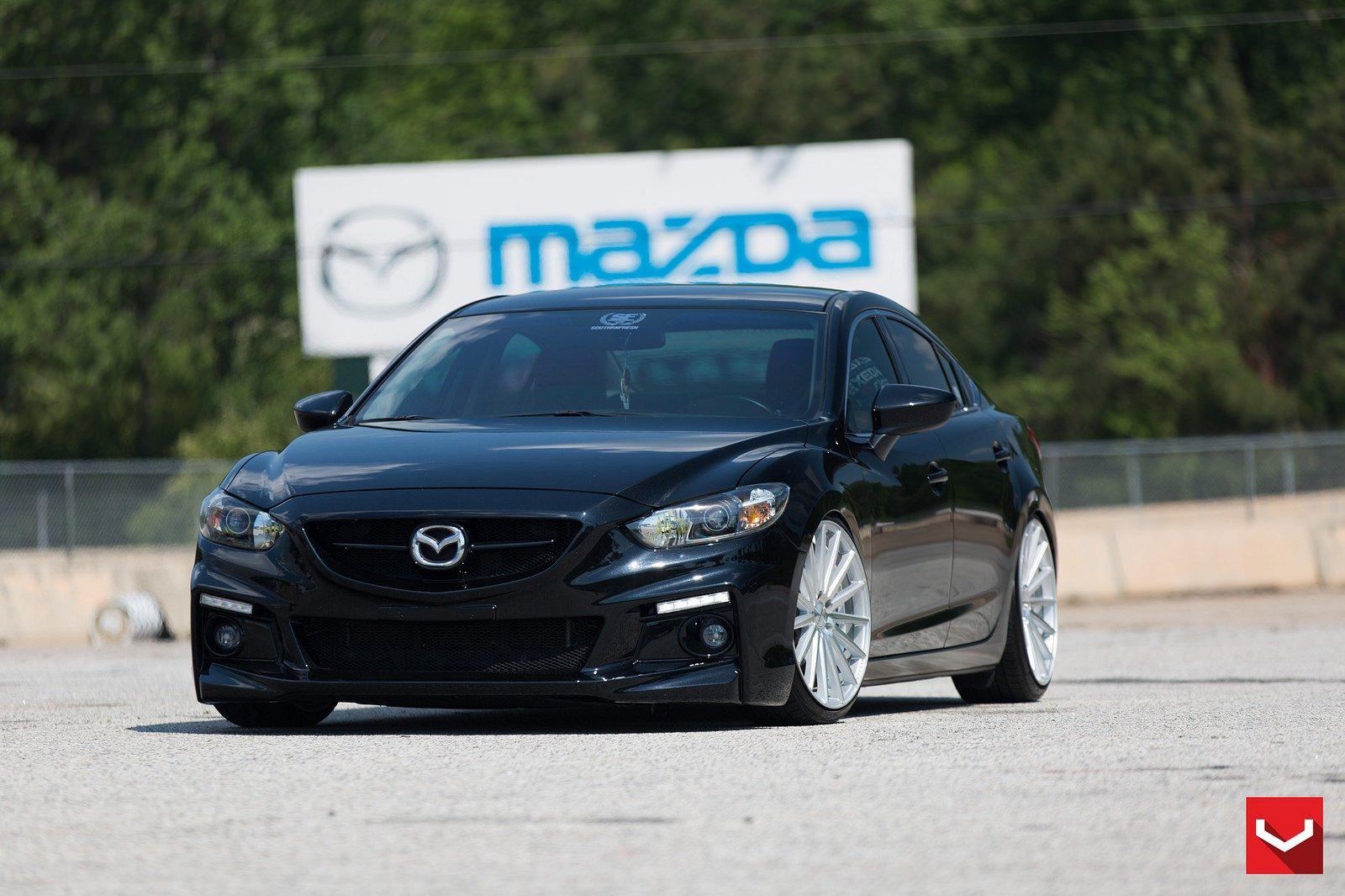 Vossen Wheels Cars Tuning Mazda 6 Black Wallpaper