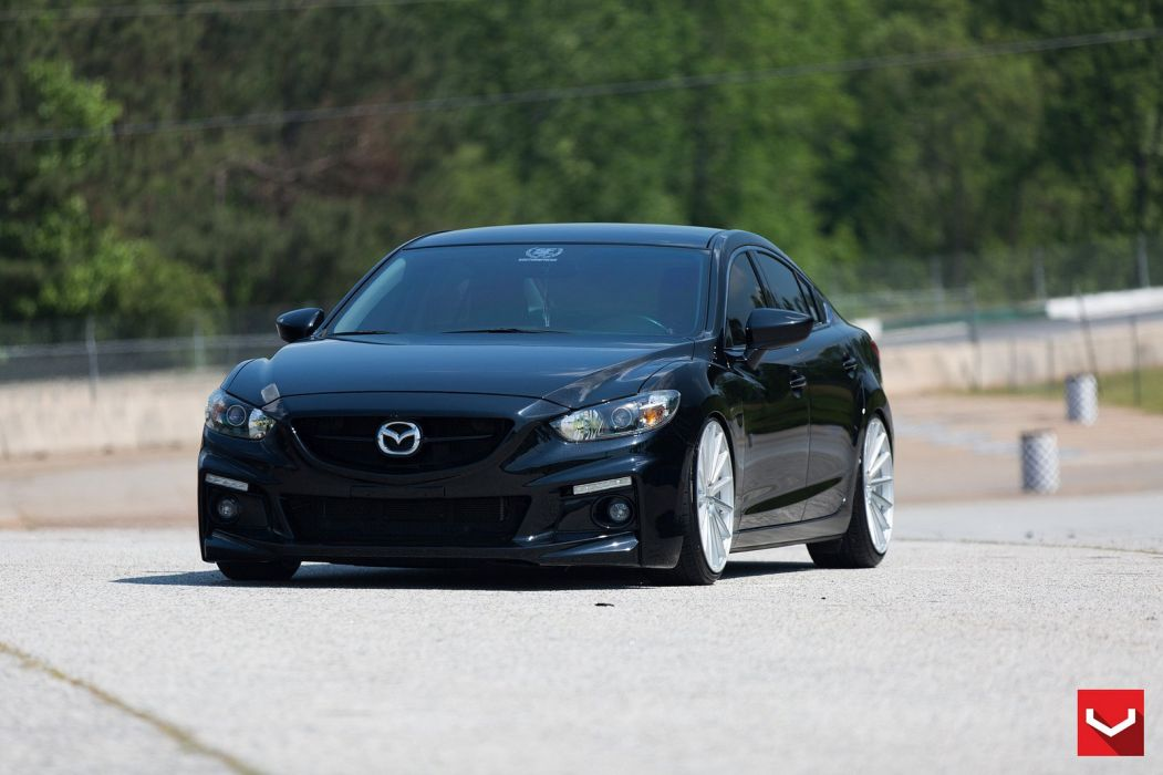 Vossen Wheels Cars Tuning Mazda 6 Black Wallpaper