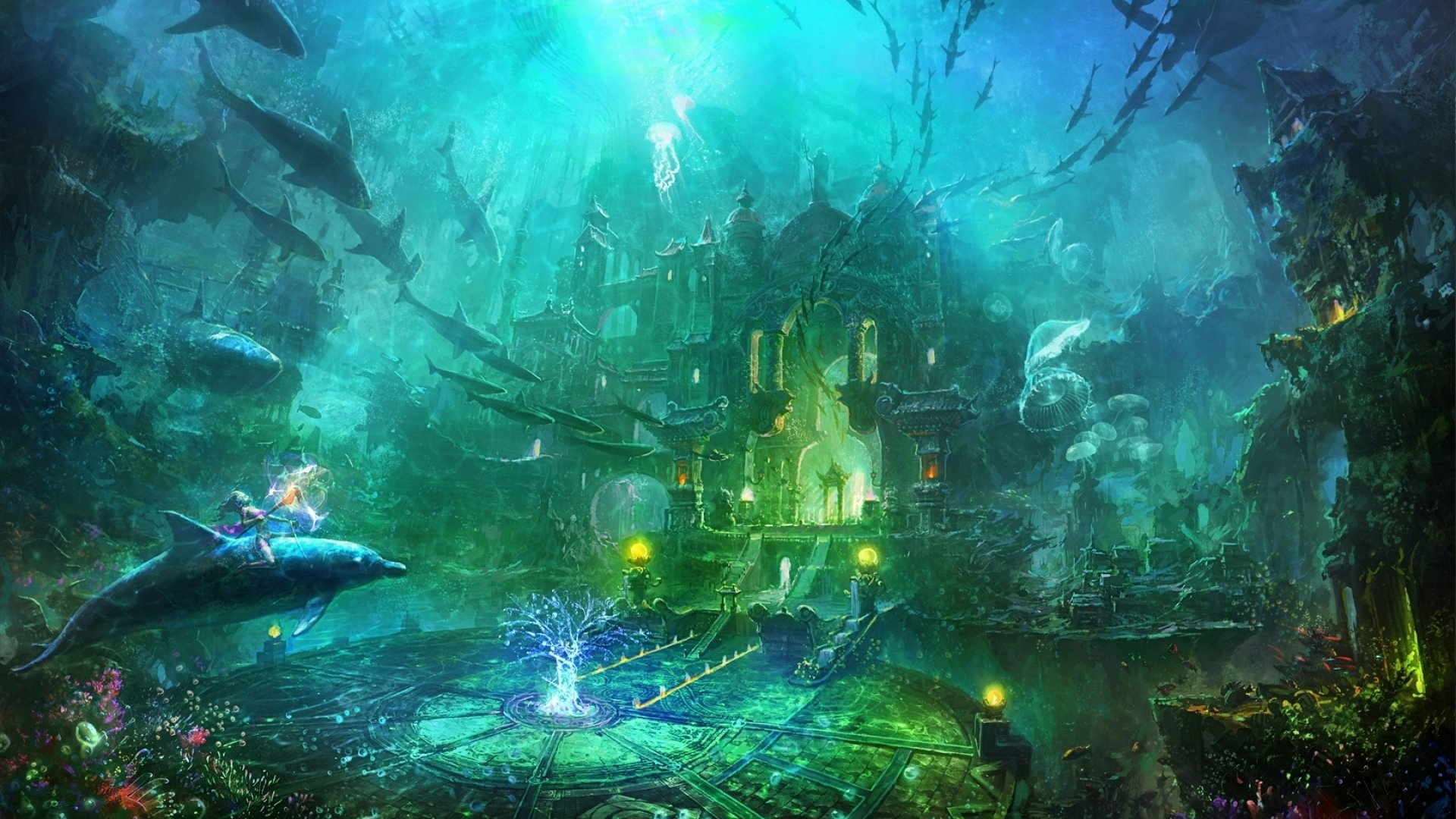 underwater painting plants - HD1500×1200