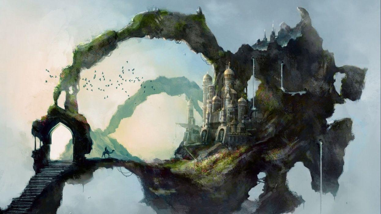 castle building artwork art landscape wallpaper