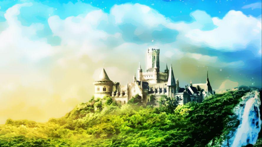 castle building artwork art landscape city cities wallpaper
