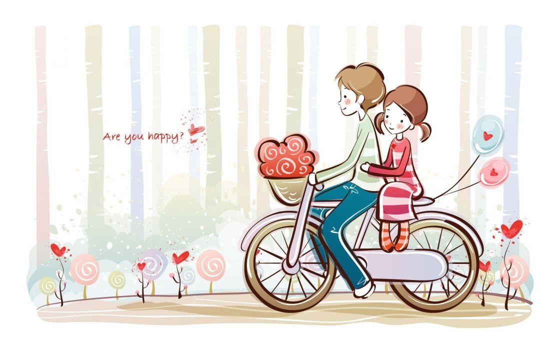 couple on bike heart love cute wallpaper