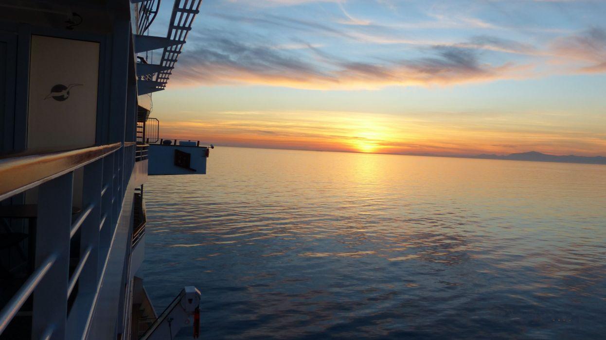 Mediterranean Sea Sunset Cruise Ocean Calm Wallpaper