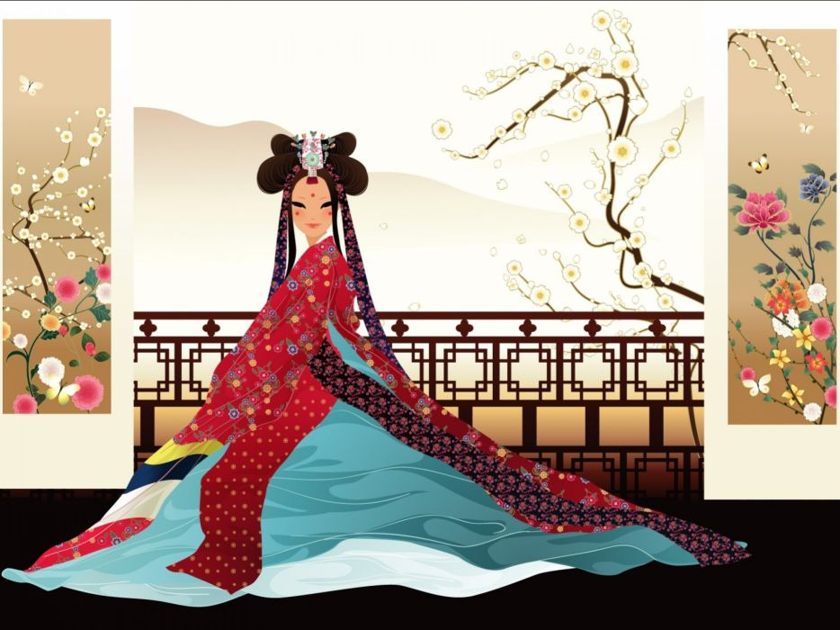 artistic art artwork women female girls girl woman asian oriental korean korea vector wallpaper