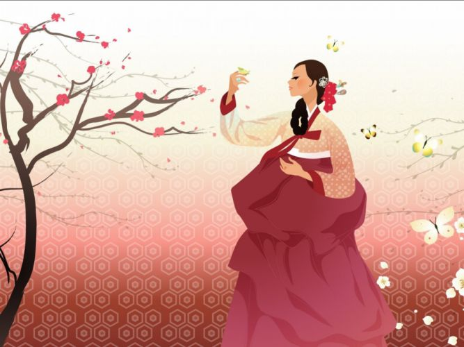 artistic art artwork women female girls girl woman asian oriental korean korea vector wallpaper