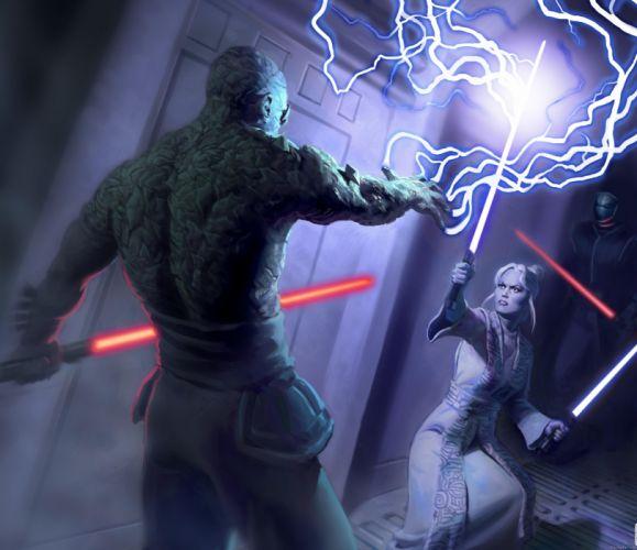 STAR WARS Knights Old Republic sci-fi futuristic action fighting warrior wallpaper