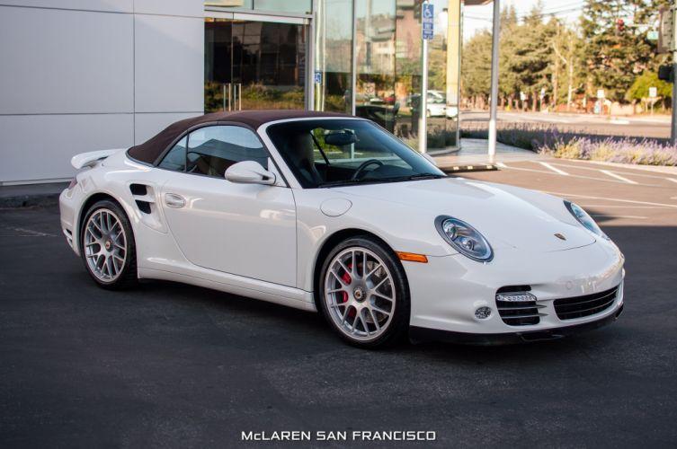 2012 Porsche 911 Turbo Cabriolet convertible cars white wallpaper