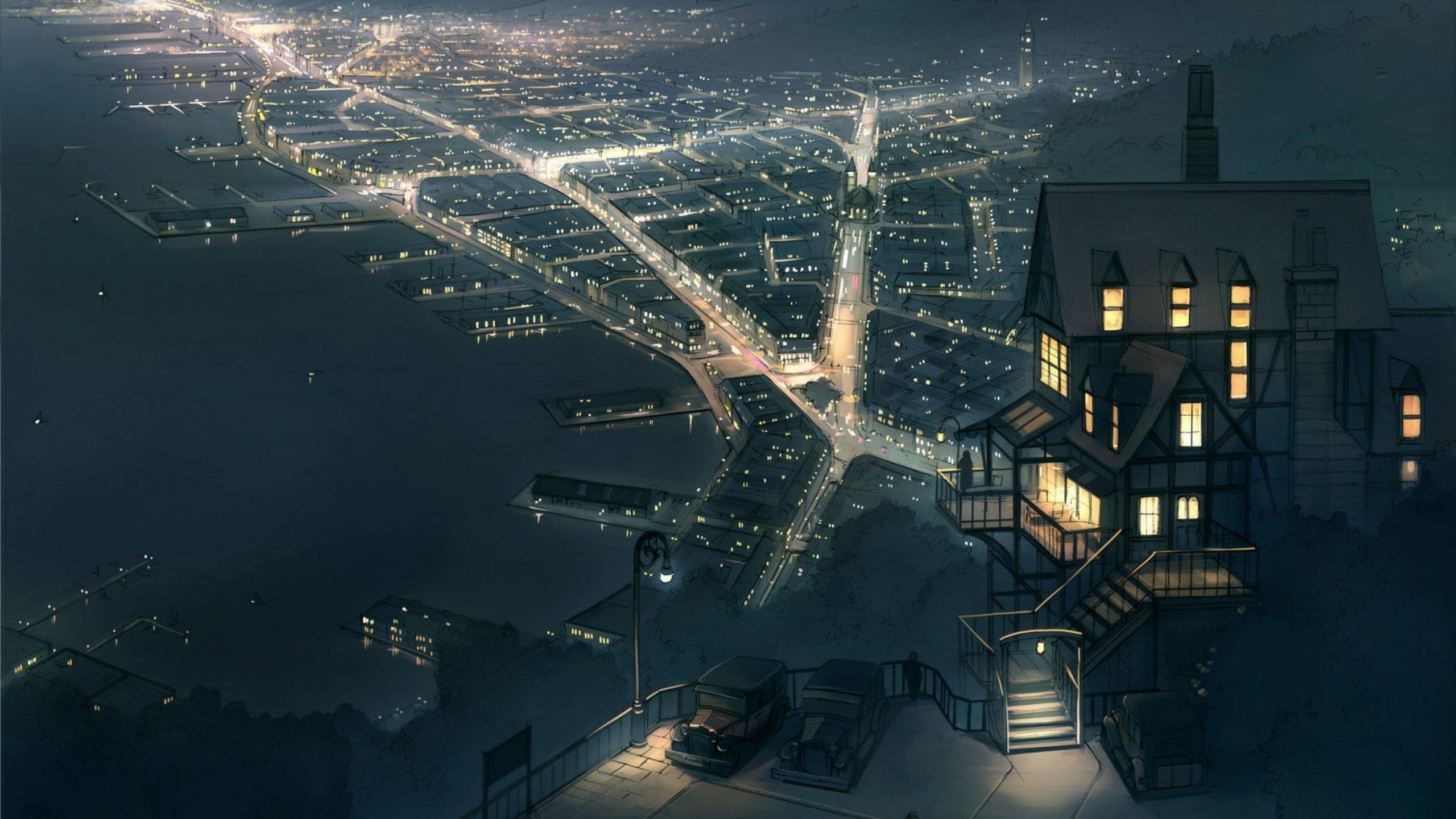 anime original city cities art artwork fantasy detail